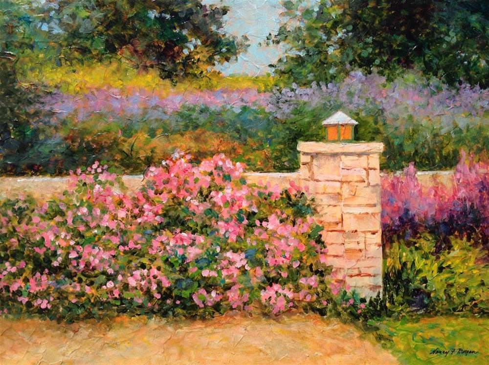 """Garden Wall"" original fine art by Nancy F. Morgan"