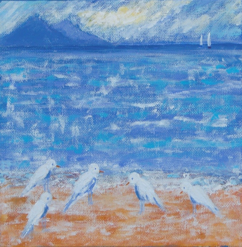 """Beach Birds"" original fine art by karen richardson"