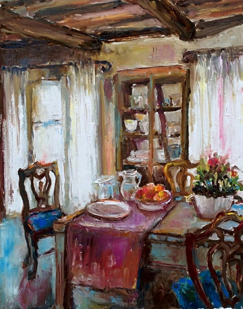 """Interior with Blue Chairs"" original fine art by pepa sand"