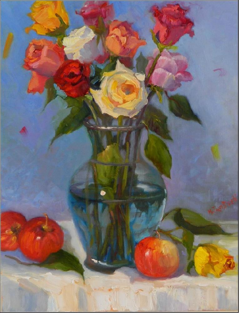 """Gala Apples and Summer Roses, 14x18, oil on linen, mixed roses, apples, still life, Maryanne Jacob"" original fine art by Maryanne Jacobsen"