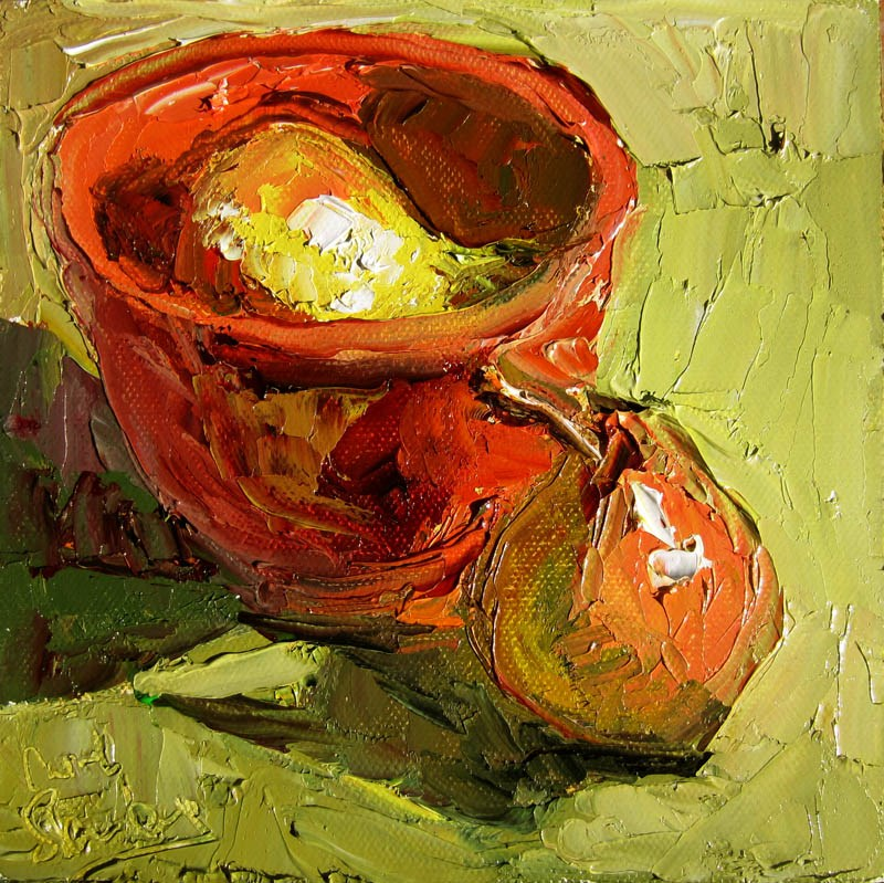 """Pear In, Pear Out, Persimmon Bowl"" original fine art by Carol Steinberg"