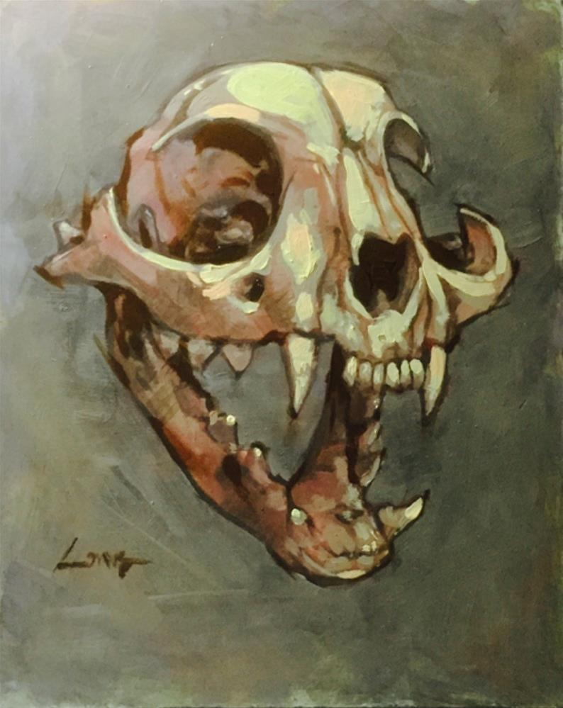 """Cat Skull"" original fine art by Chris Long"