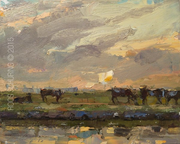 """Landscape with Cows"" original fine art by Roos Schuring"