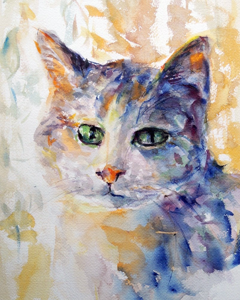 """Green Eyes"" original fine art by Mary Schiros"