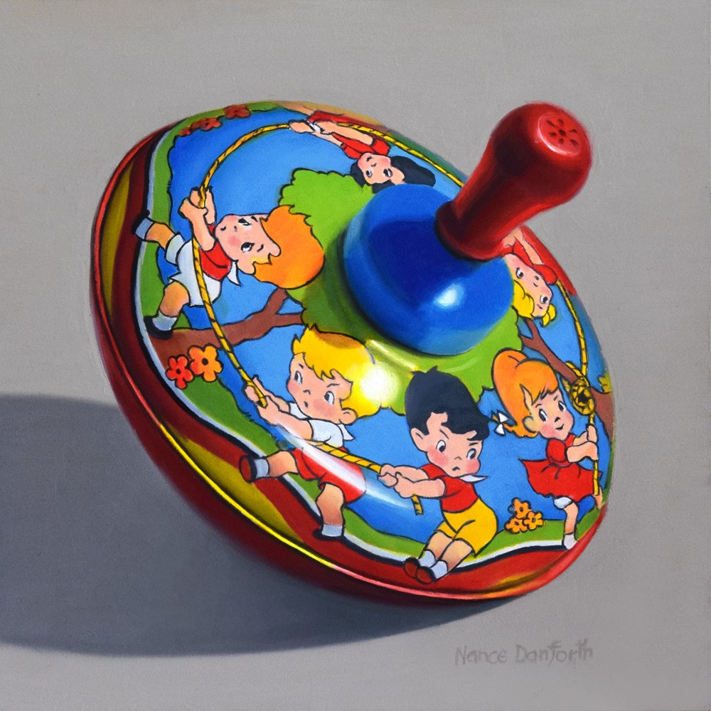 """Toy Top with Tug-O-War"" original fine art by Nance Danforth"
