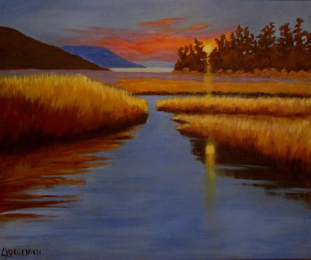 """20 X 24 Inch Cowichan Sunset"" original fine art by Linda Yurgensen"