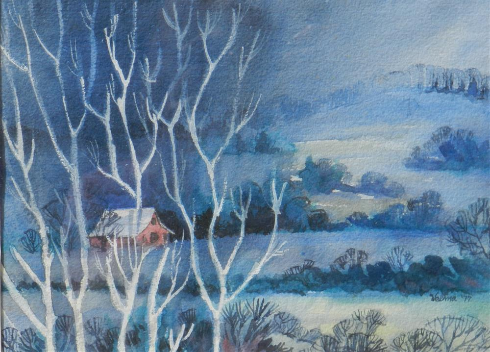 """Blue Landscape"" original fine art by Velma Davies"