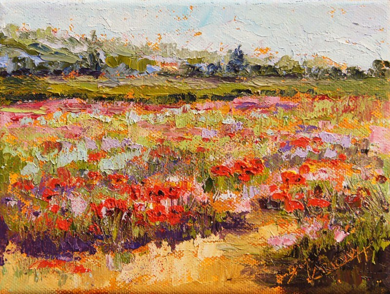 """Wildflower Confetti palette knife painting"" original fine art by Marion Hedger"