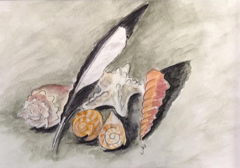 """""""One Feather  watercolor 6x 9"""" original fine art by Nancy Beard"""