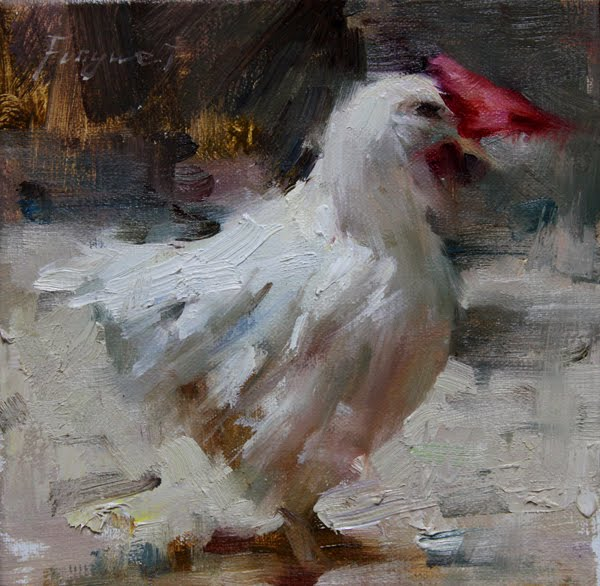 """Hen"" original fine art by Fongwei Liu"