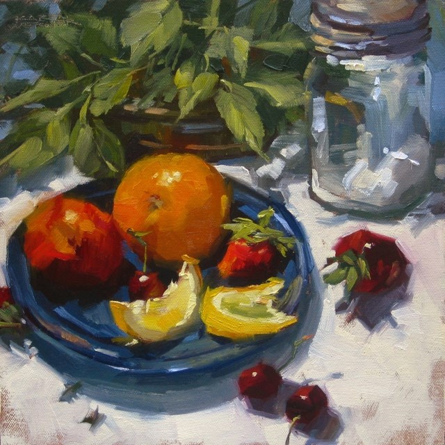 """Blue Plate Special"" original fine art by Karen Werner"