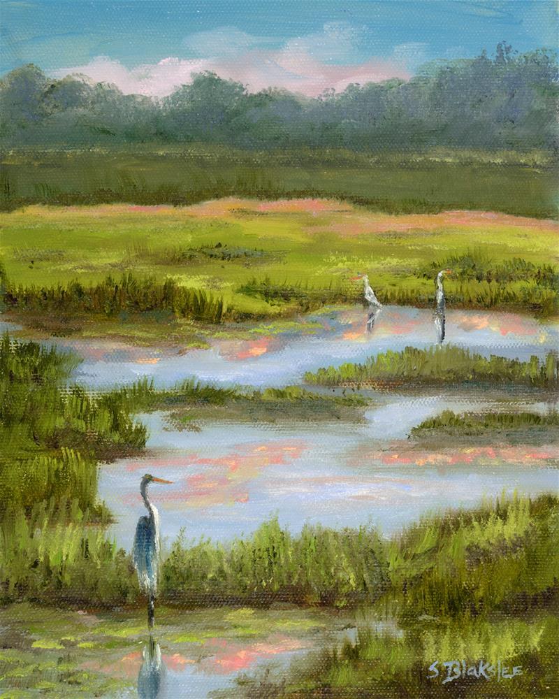 """Birds on the Marsh"" original fine art by Sissy Blakslee"