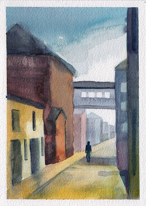 """Sunny Side-Street"" original fine art by J M Needham"