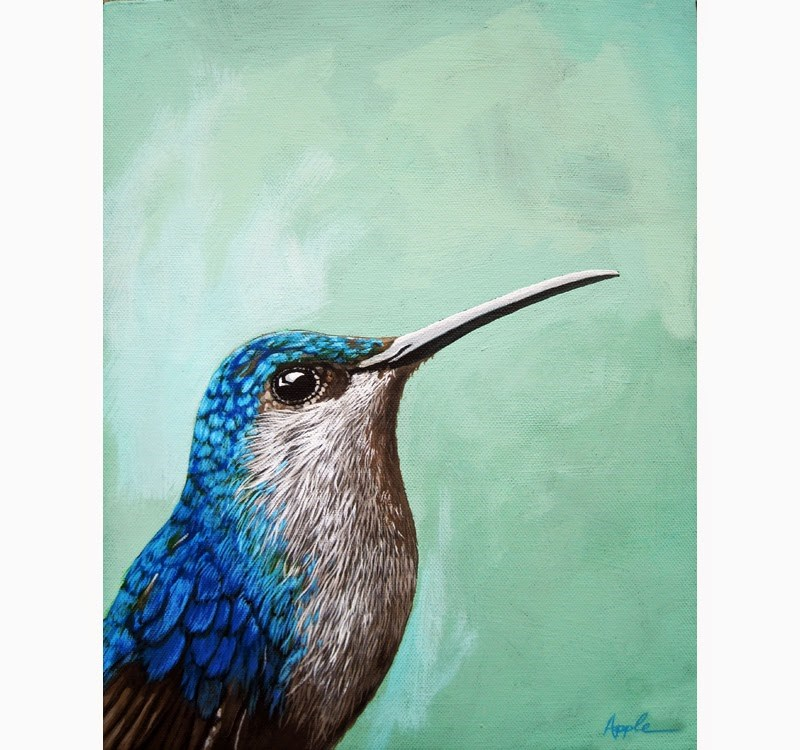 """Hummingbird realistic bird portrait painting"" original fine art by Linda Apple"