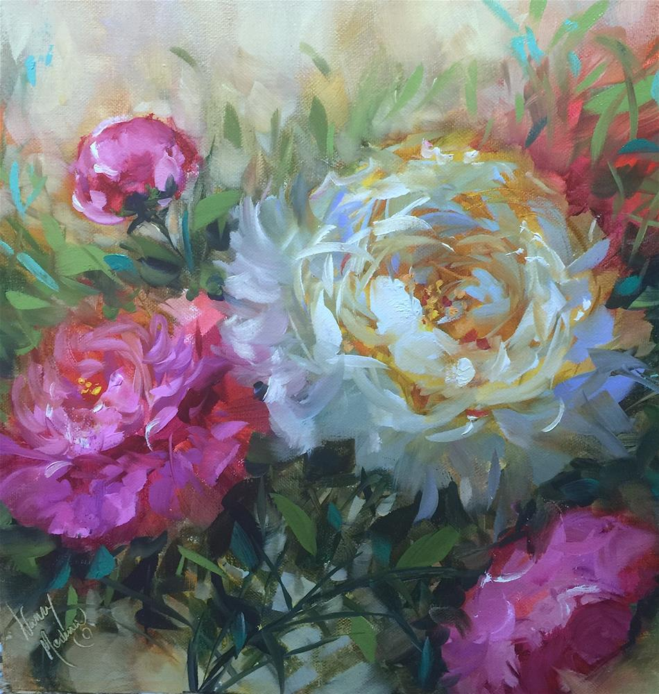 """Cloud Swept Peonies - Nancy Medina Art Videos and Classes"" original fine art by Nancy Medina"