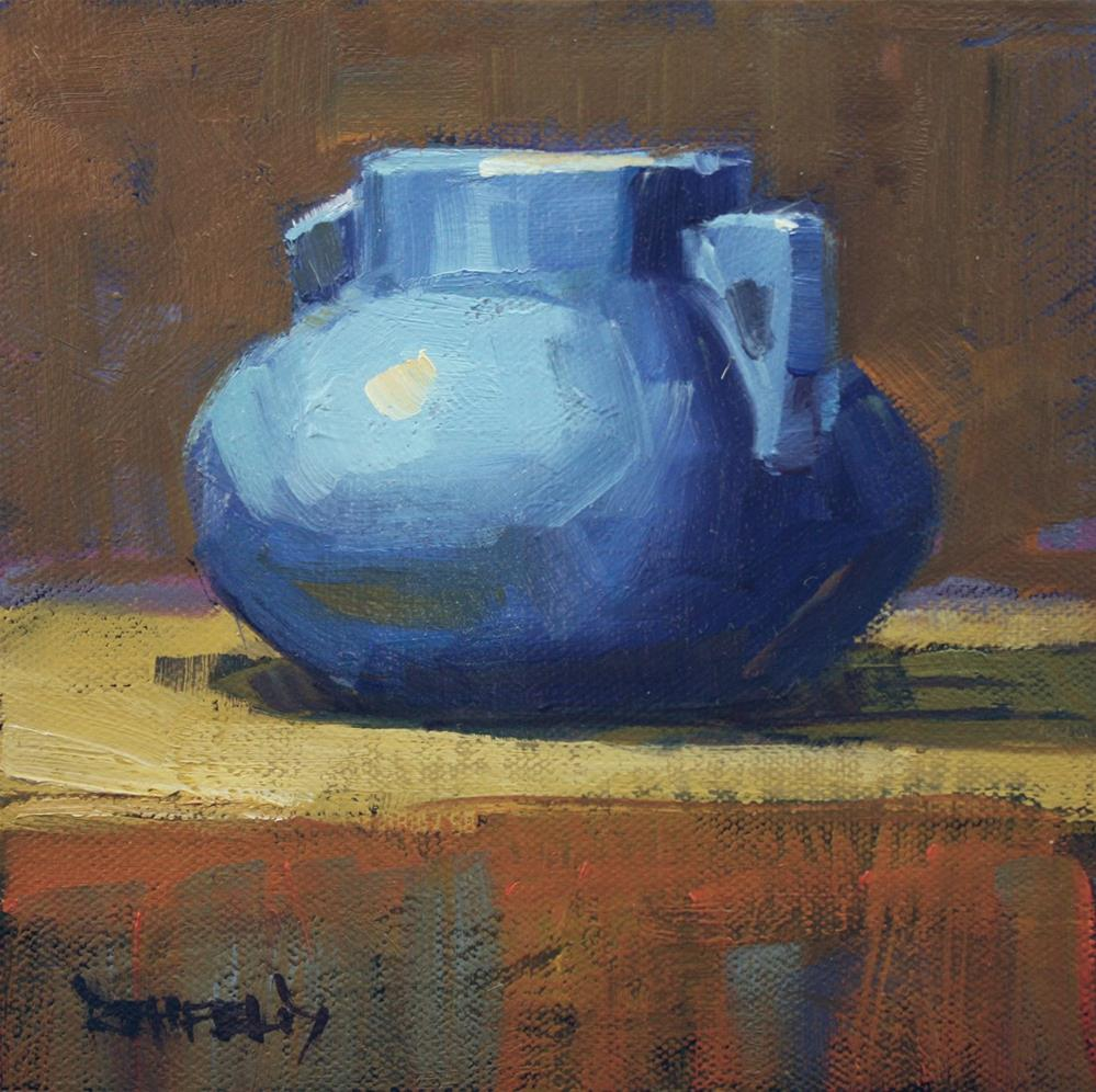 """Vintage Blue Pottery"" original fine art by Cathleen Rehfeld"