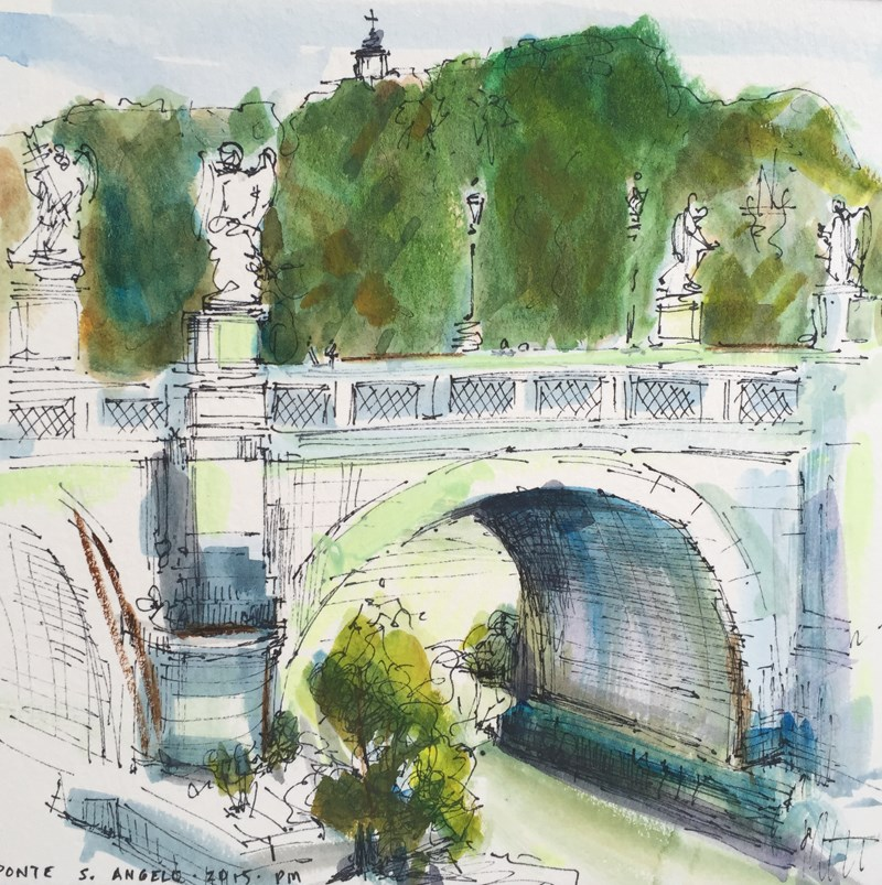 """Ciao, Bella Roma - Ponte S. Angelo"" original fine art by Patti McNutt"