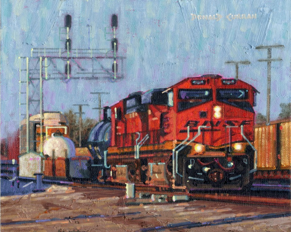 """Train"" original fine art by Donald Curran"