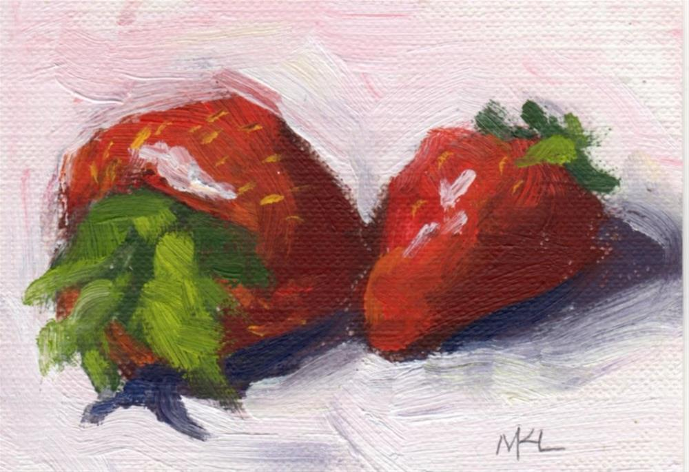 """Two Strawberries"" original fine art by Marlene Lee"