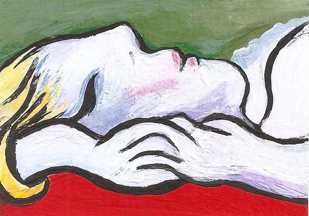 """ACEO Woman Asleep my painting a la Pablo Picasso Miniature art Penny StewArt"" original fine art by Penny Lee StewArt"