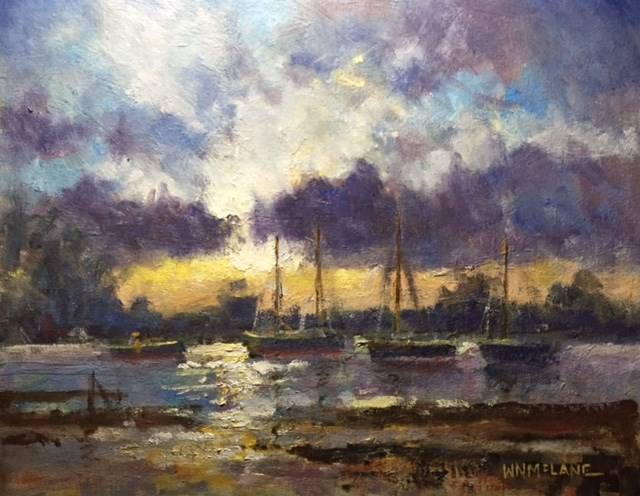 """Morning Boats"" original fine art by William  McLane"