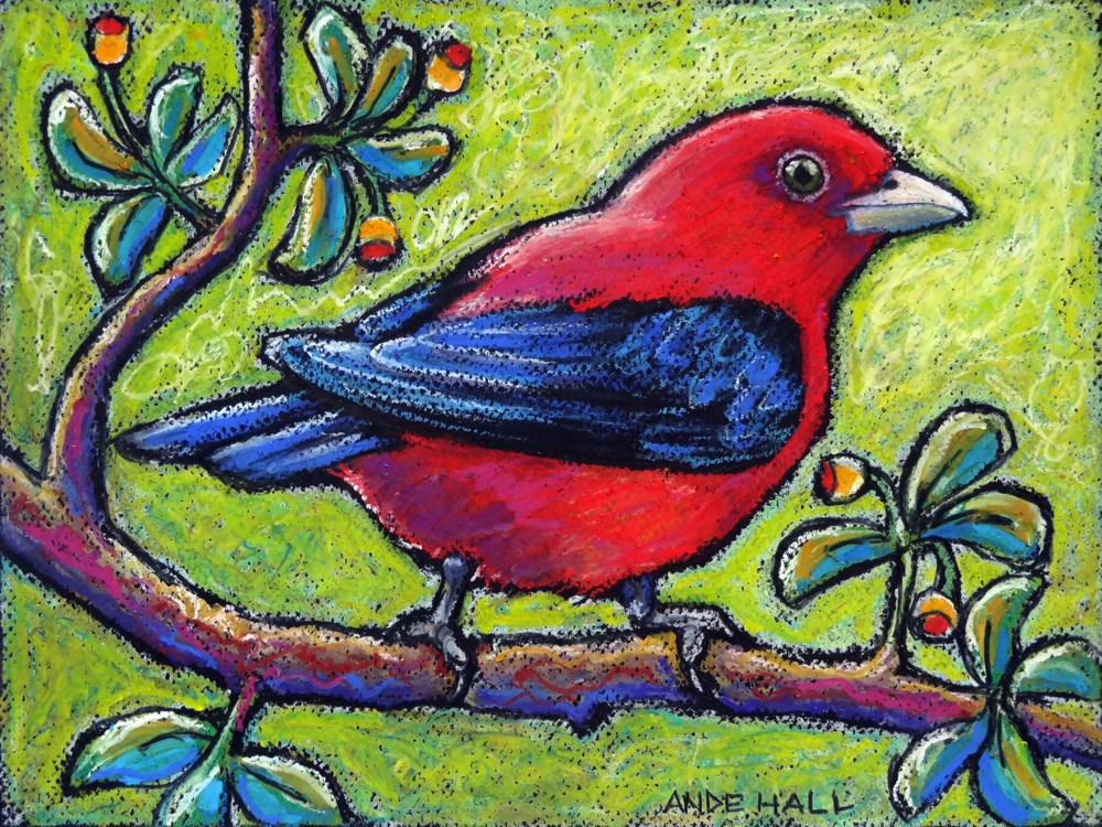 """Scarlet Tanager 3"" original fine art by Ande Hall"