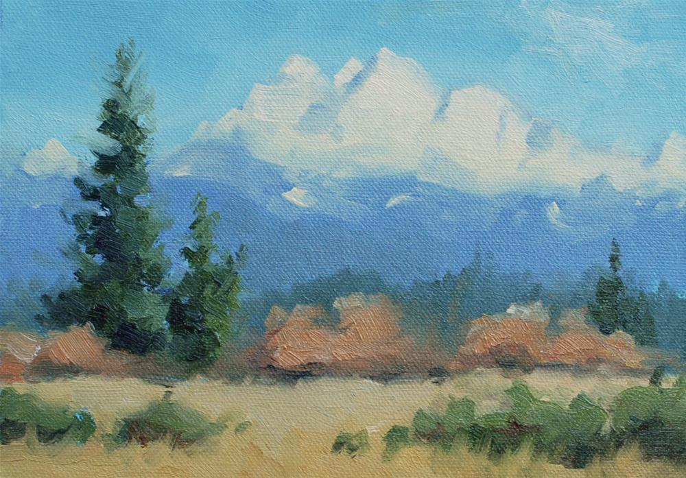 """Three Fingers Mountain in January - Plein Air"" original fine art by Susan McManamen"