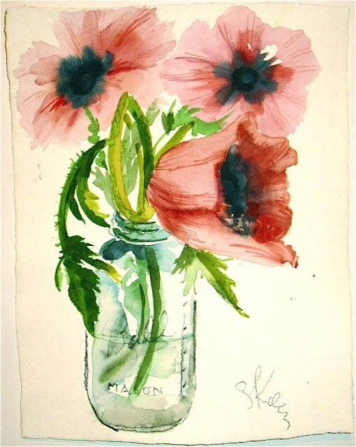 """""""Poppies from my Garden by Gretchen Kelly, New York Artist"""" original fine art by Gretchen Kelly"""