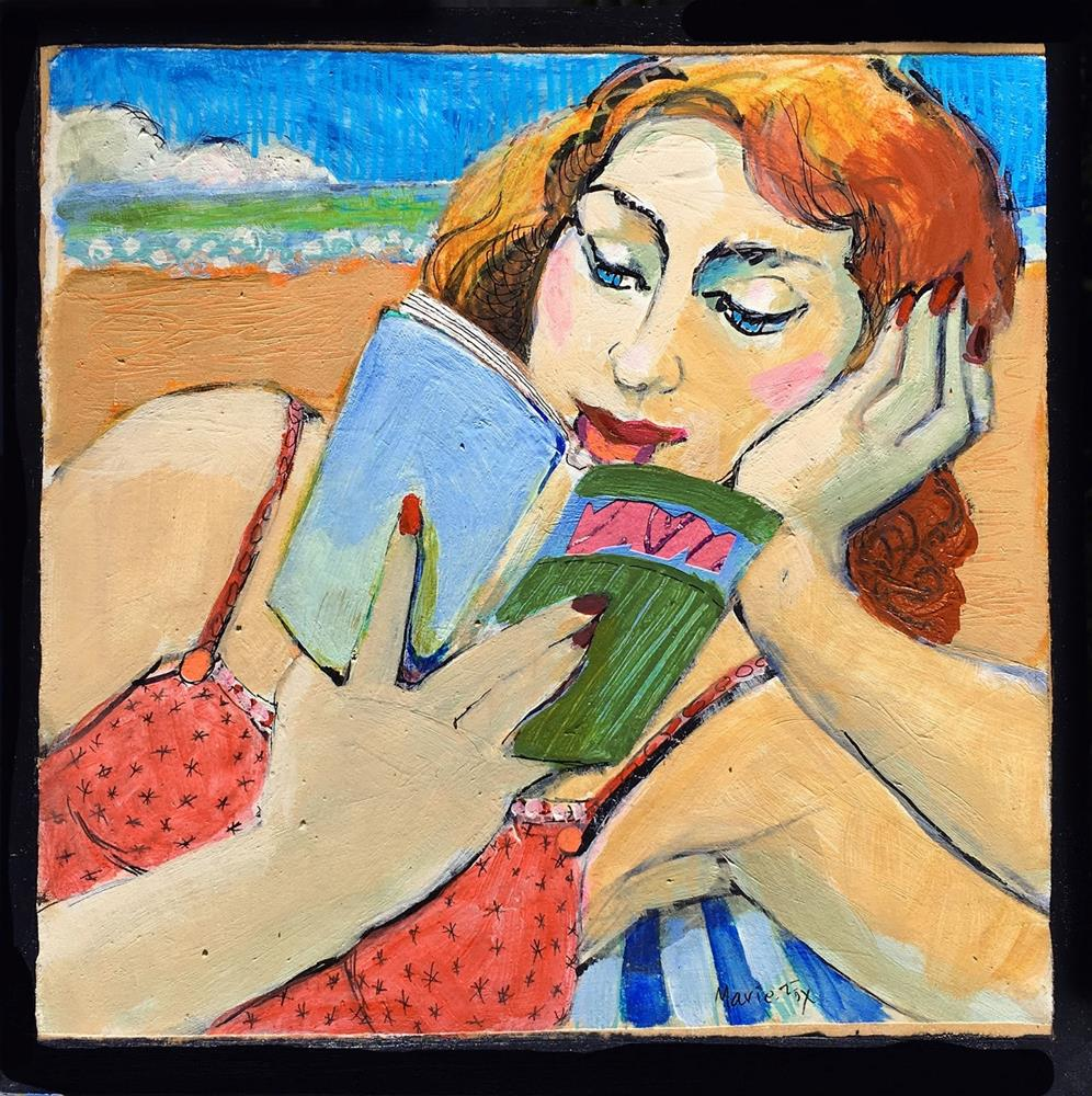 """Woman Reading At The Beach, figurative painting, woman art, contemporary figure drawing,"" original fine art by Marie Fox"