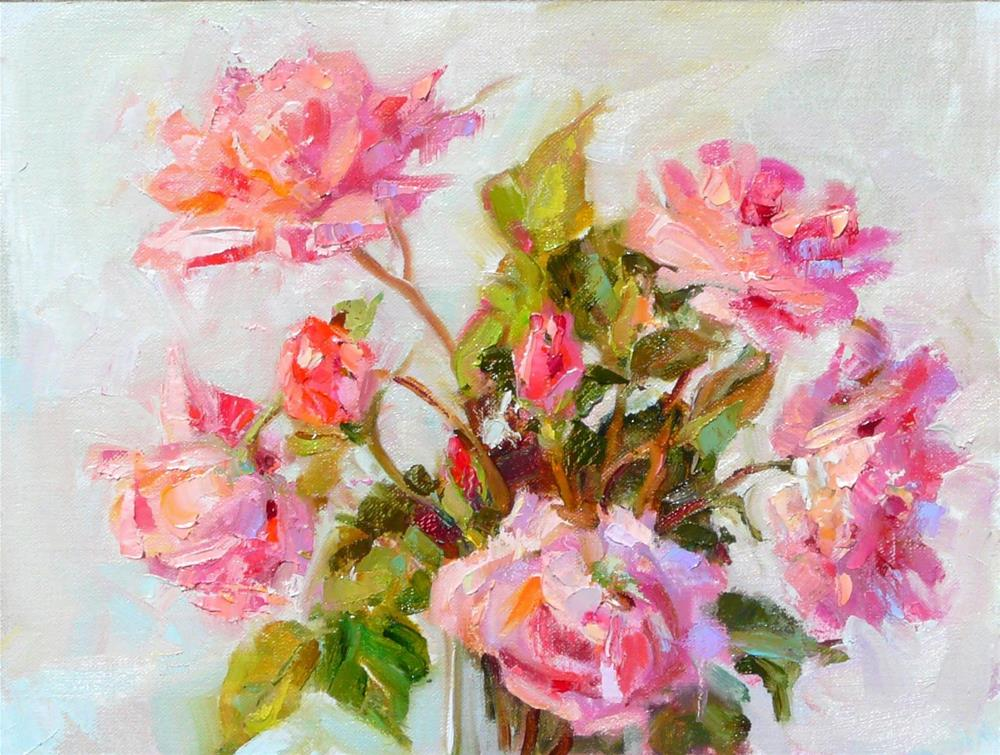 """Queen Elizabeth Roses,still life,oil on linen,9x12,price$375"" original fine art by Joy Olney"