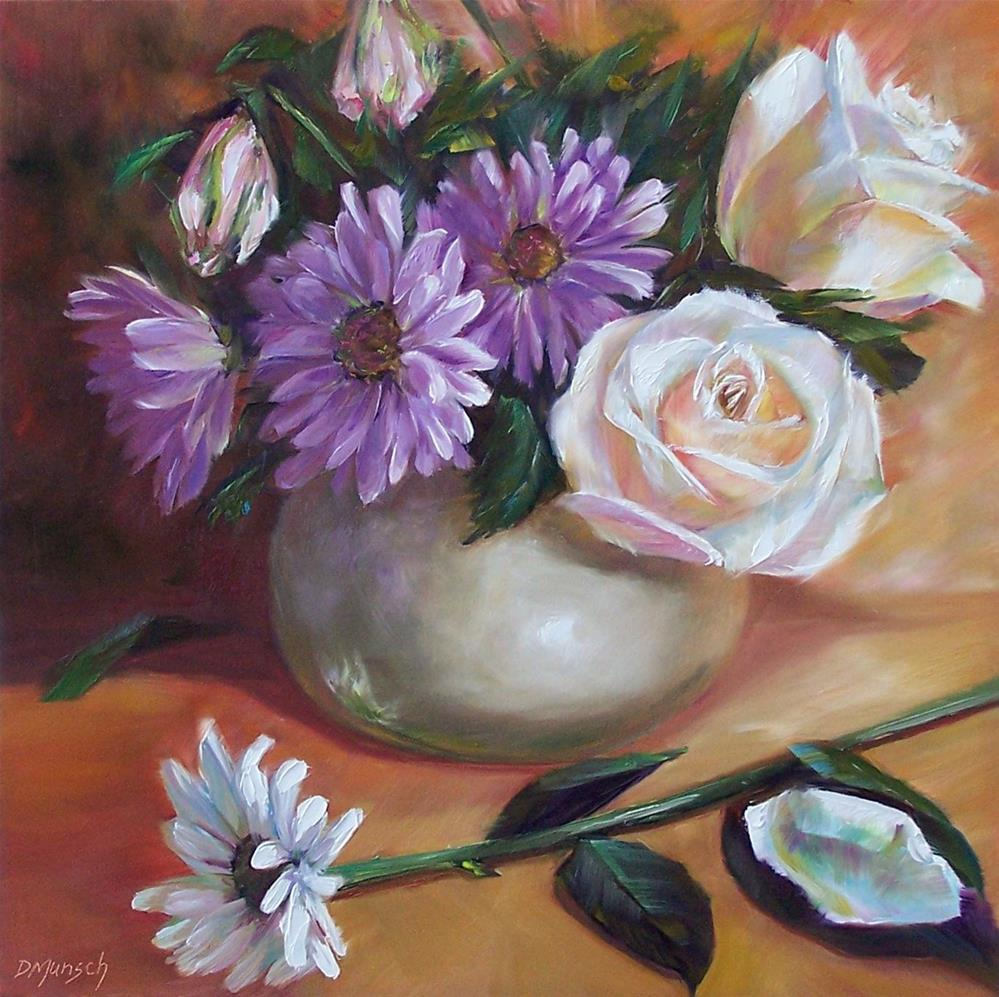 """White Roses and Daisies"" original fine art by Donna Munsch"