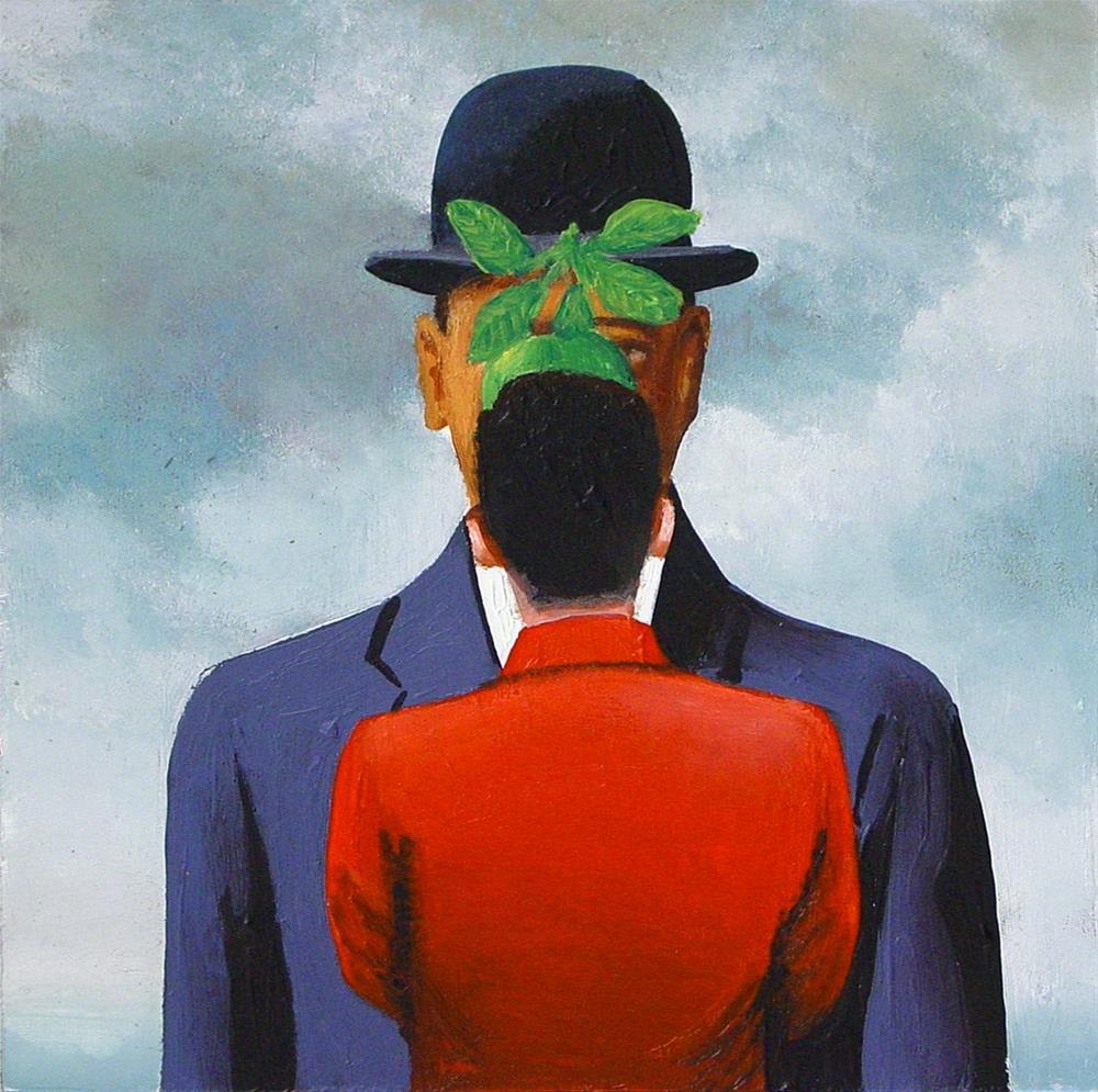 """Apple- Painting Of Man Enjoying Painting Son Of Man By Rene Magritte"" original fine art by Gerard Boersma"
