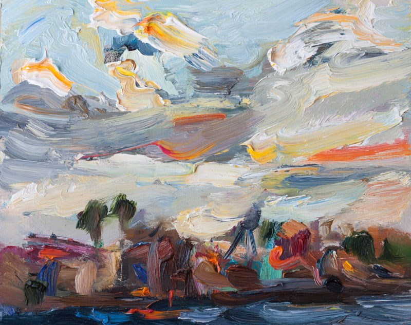 """Seascape with Colorful Clouds"" original fine art by Anna  Fine Art"
