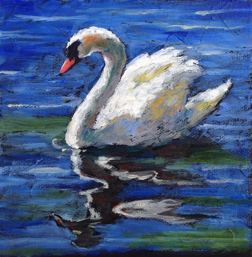 """Swan Reflections"" original fine art by Nancy F. Morgan"