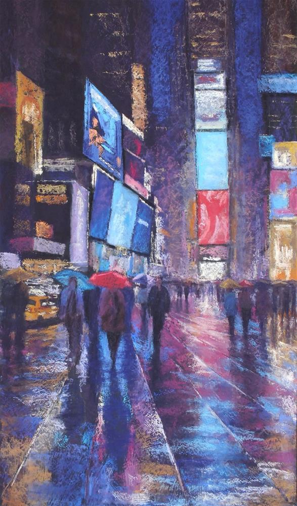 """Convergence, Times Square"" original fine art by Linee Baird"