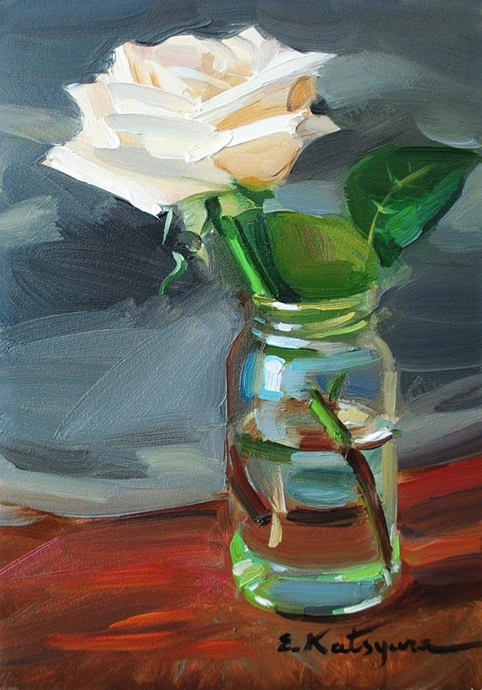 """Rose in a Jar"" original fine art by Elena Katsyura"