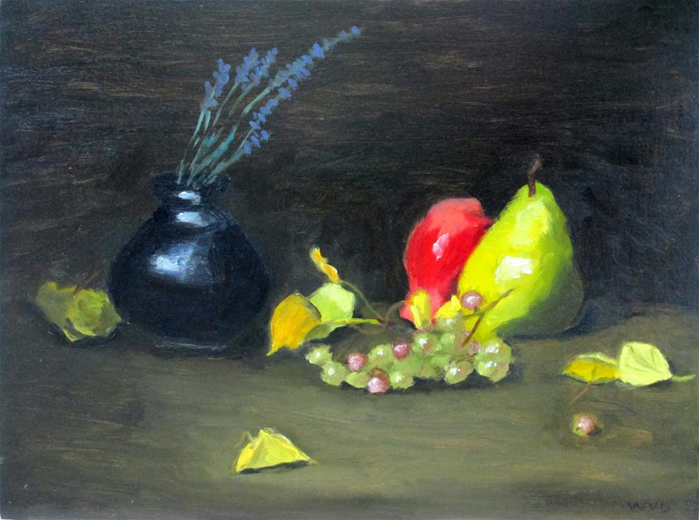 """Purple Pot and Pears"" original fine art by Will Dargie"