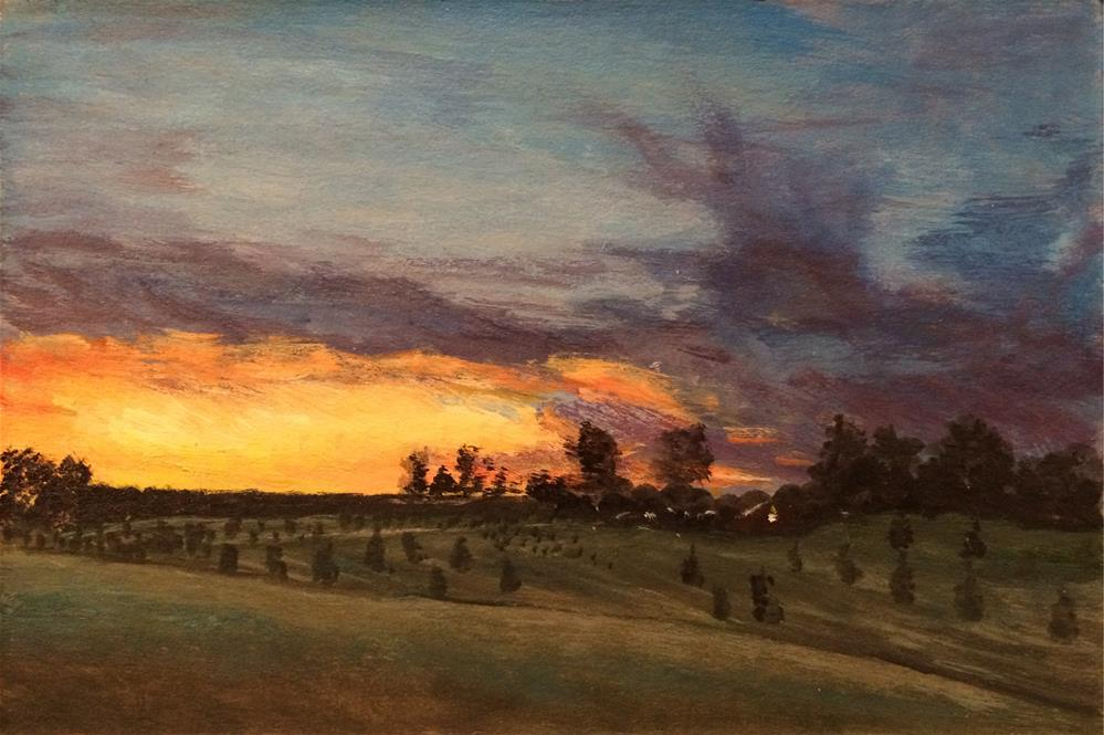 """Pepper's Christmas Tree Farm at Sunset"" original fine art by Allison Dollar"
