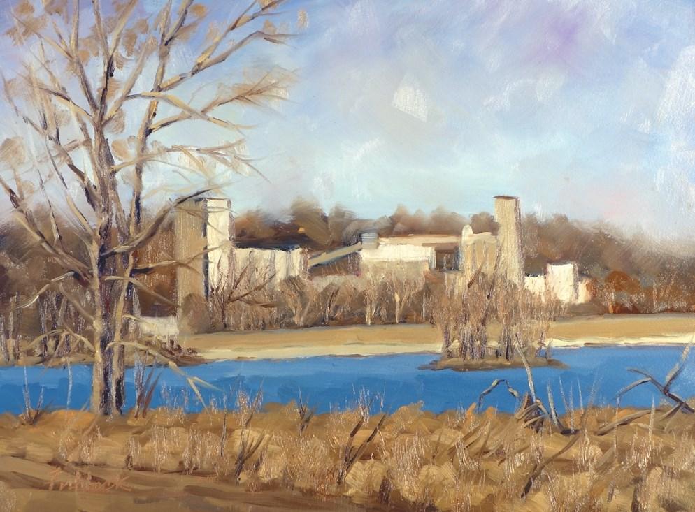 """Alton Mill en plein air"" original fine art by Daniel Fishback"