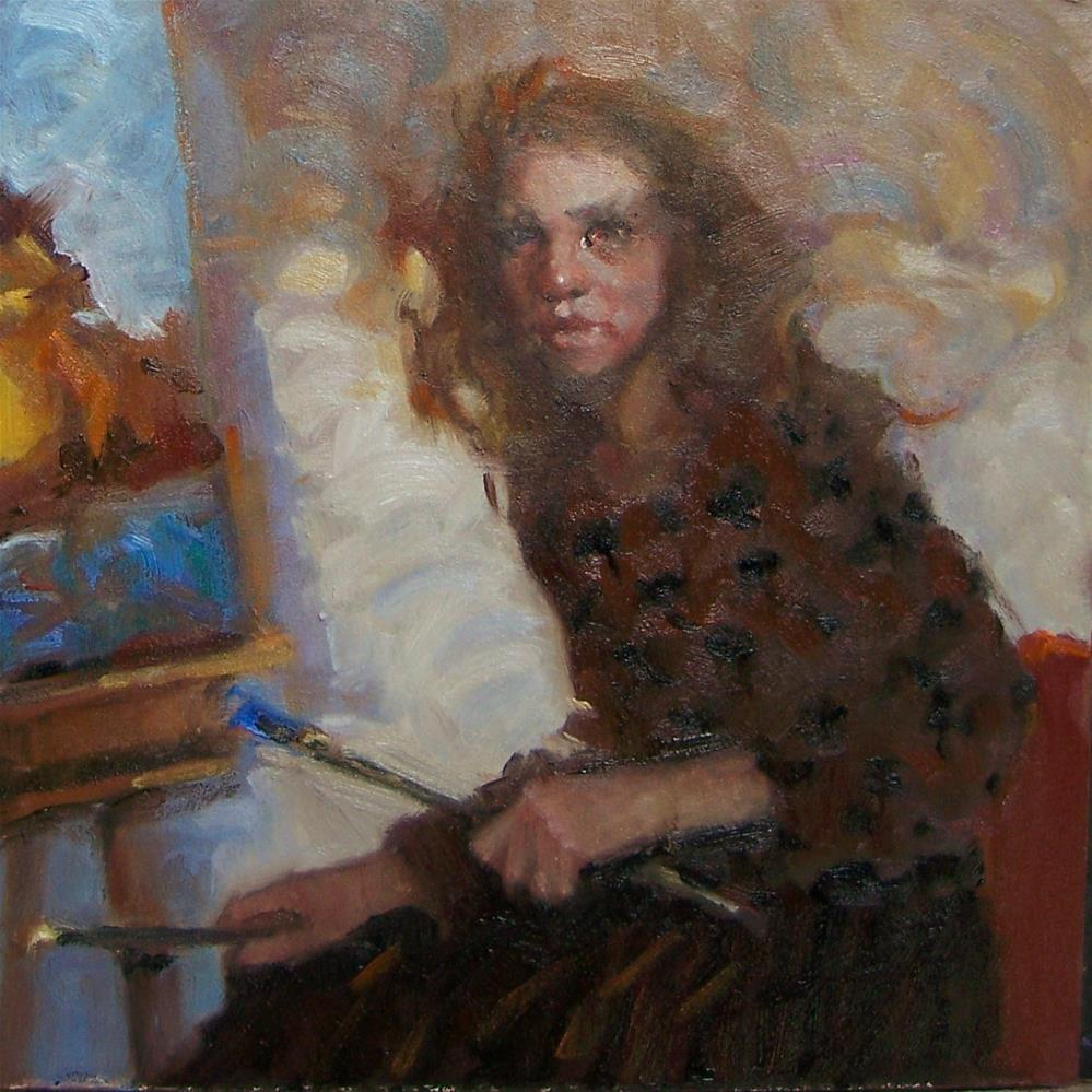 """At Her Easel"" original fine art by Kim Roberti"