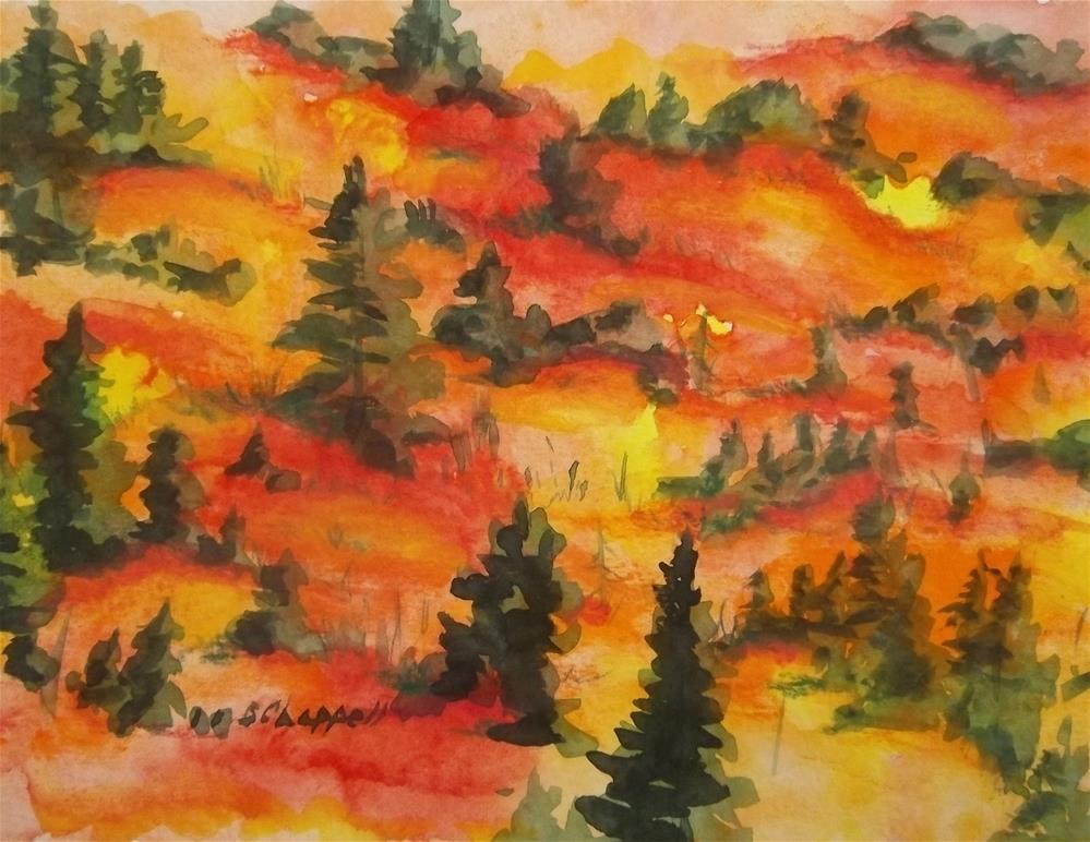 """Hills of Fire"" original fine art by Becky Chappell"
