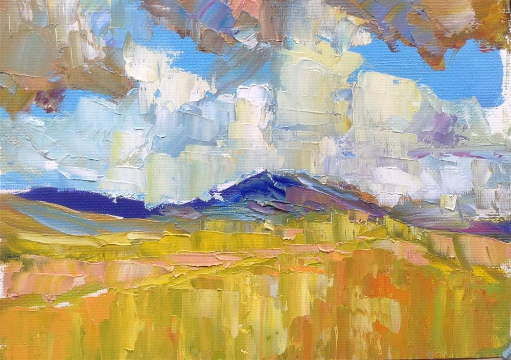 """Mountain landscape with cry and clouds, oil sketch. Unvarnished"" original fine art by Joseph Mahon"