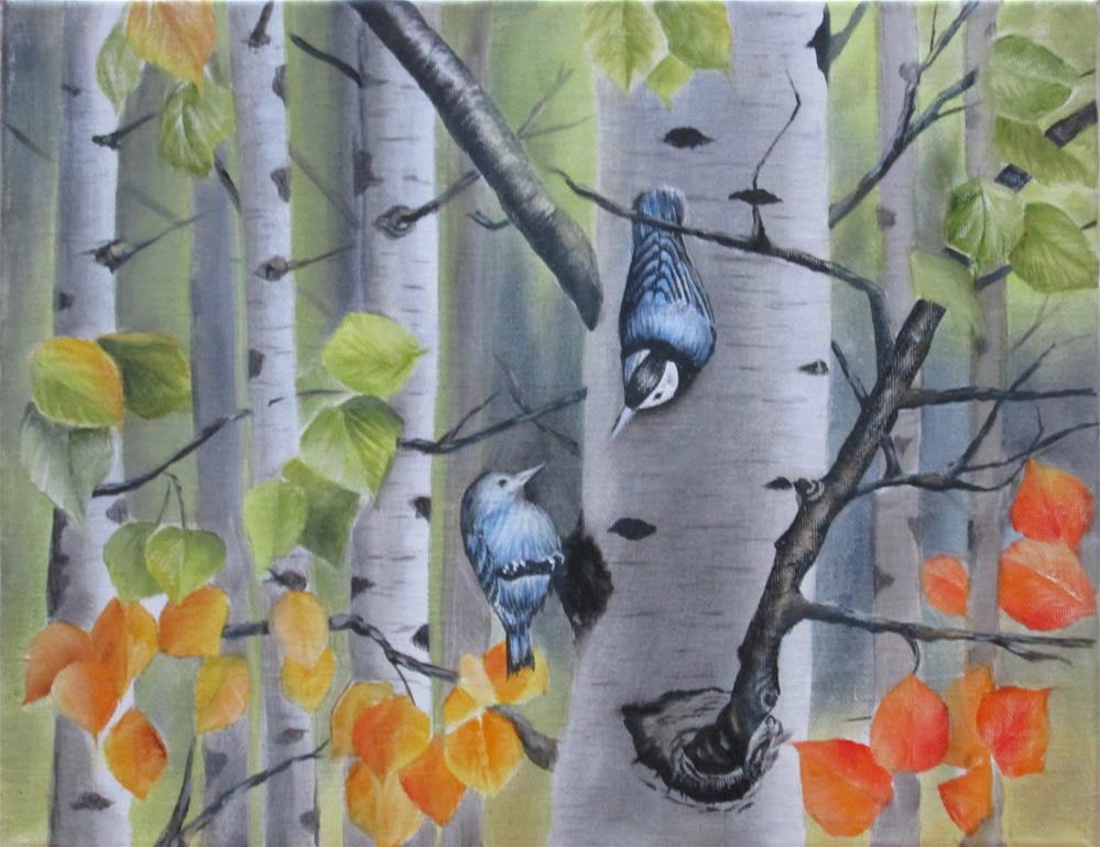 """Chickadees and Birch Trees"" original fine art by Barbara Wagner"