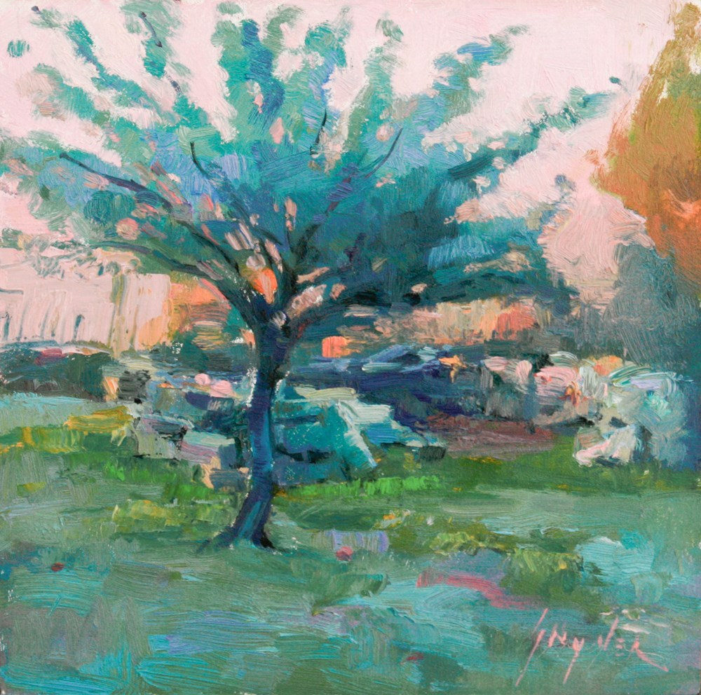 """Spring Dusk, Apricot Tree"" original fine art by Julie Snyder"