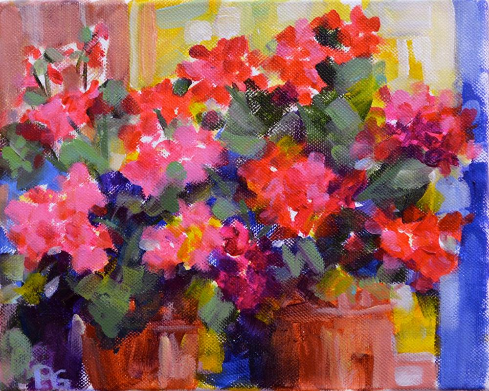 """Radiant Geraniums"" original fine art by Pamela Gatens"