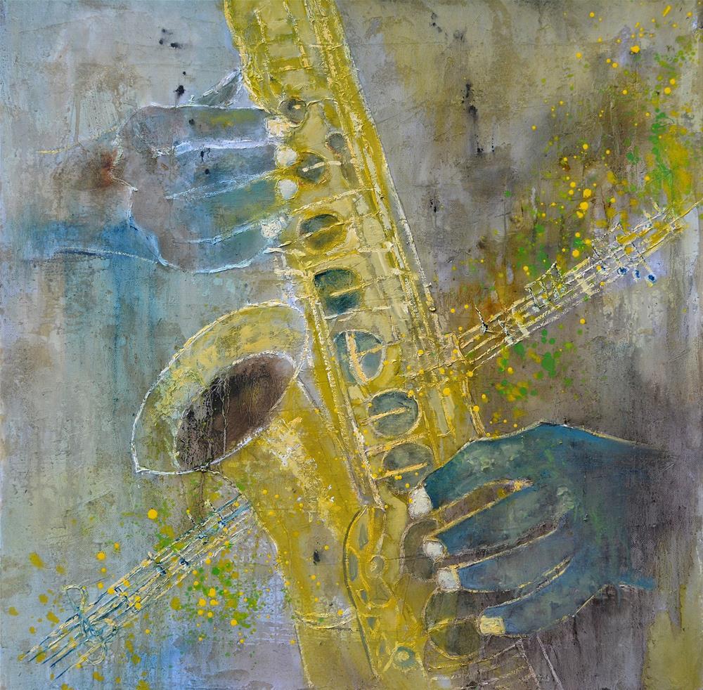 """""""saxosphone 7761"""" original fine art by Pol Ledent"""