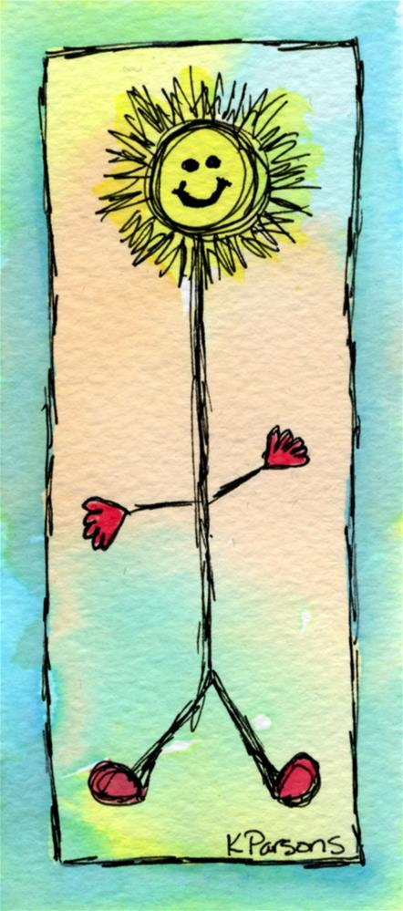 """Happy Sunny Stick Man"" original fine art by Kali Parsons"