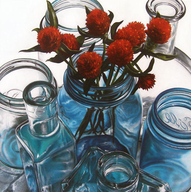 """Gomphrena in Blue Glass"" original fine art by Jelaine Faunce"