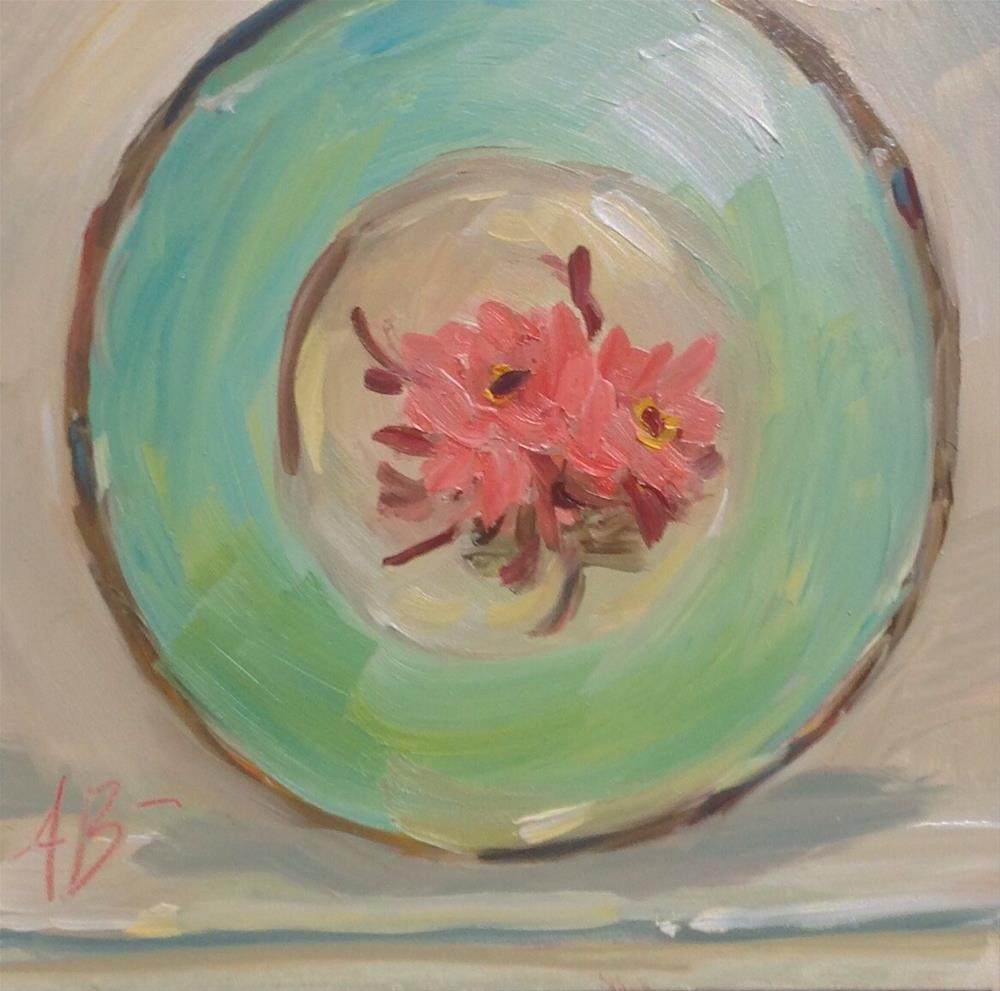 """Floral green plate"" original fine art by Annette Balesteri"