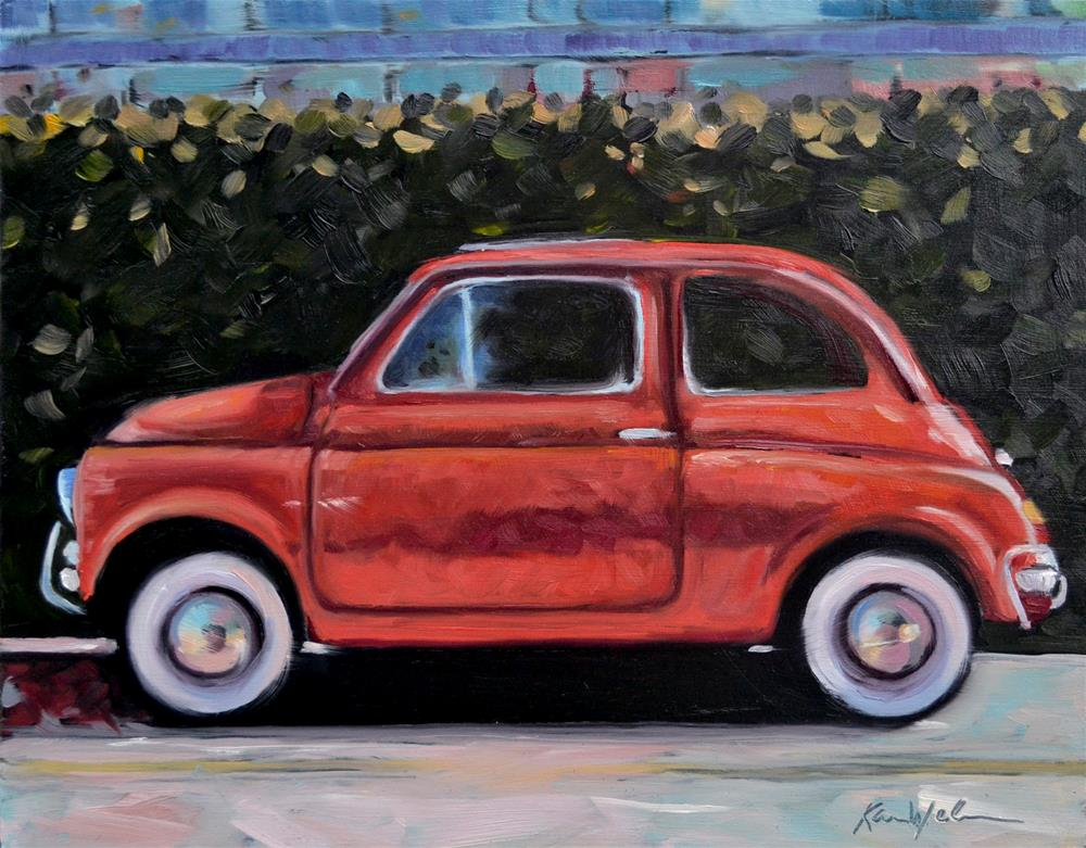 """Red Fiat"" original fine art by Karen Weber"